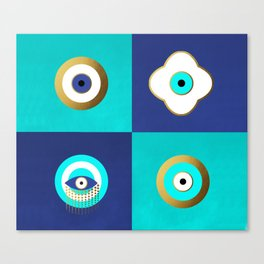 Turquoise and Blue evil eyes Canvas Print
