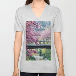 Cherry Tree Blossoms of Spring Along the River Portrait Painting Unisex V-Neck