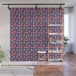 Gingerbread Houses and Sweets Candies - Blue Wall Mural