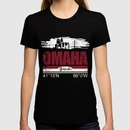 Omaha Hometown Cool City With GPS Coordinates T-shirt