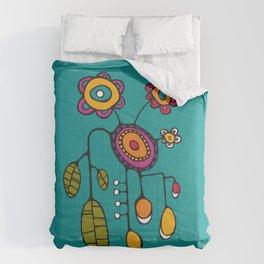 Flower Pot in Color on Teal Comforters