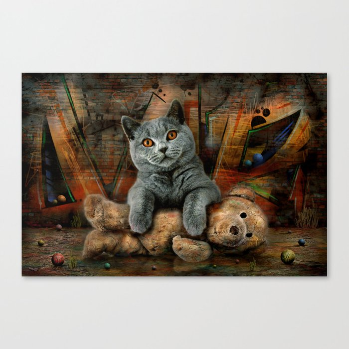 Cat Diesel with teddybear ! Canvas Print