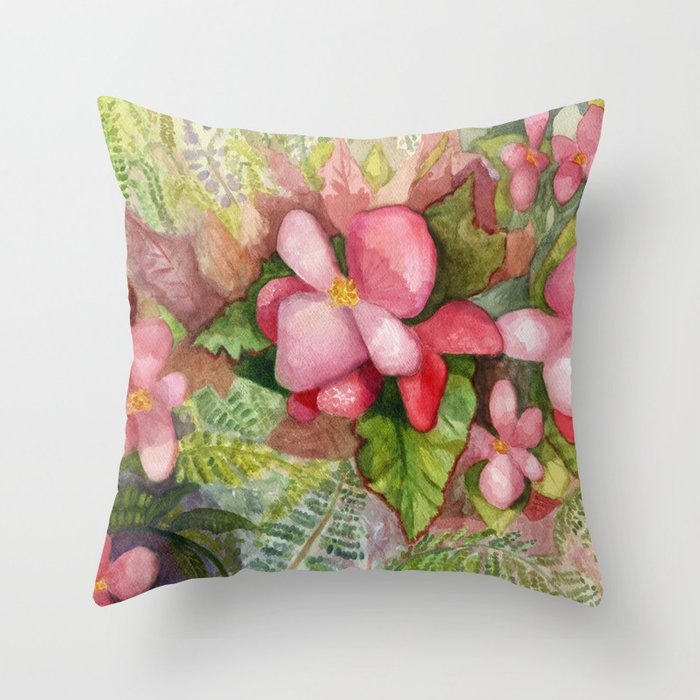 Decorative Pillows Makeup : Begonia Beauty Throw Pillow by jeffmoserwatercolorist Society6