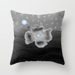 Blue Moon and poppy Throw Pillow