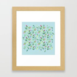 Green Cactus with Pink Bloom | Watercolor Cacti on Cyan Background Framed Art Print