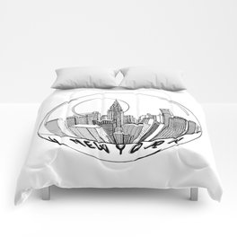 THE CITY of New York in a Suspended Bowl . Artwork Comforters