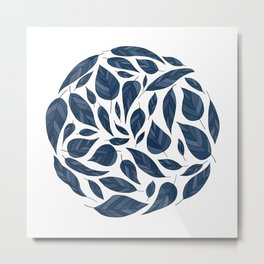 Circle of Leaves in Blue Metal Print