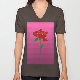 Rose on Dusty Pink Ombre Unisex V-Neck