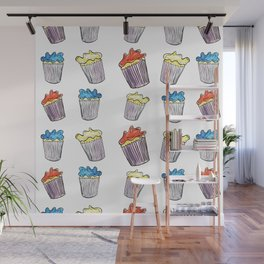 Sweet Tooth Cupcake Pattern Wall Mural