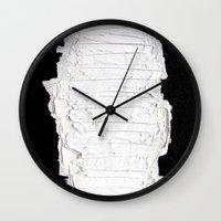 black white Wall Clocks featuring Black, White & White by RvHART