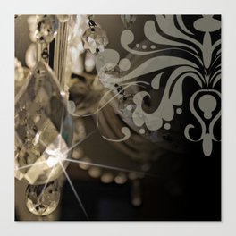 Sparkly Chandelier & Damask Canvas Print