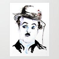 charlie chaplin Art Prints featuring Charlie Chaplin by Anastasia Efthias