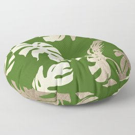 Palm Leaves White Gold Sands on Jungle Green Floor Pillow