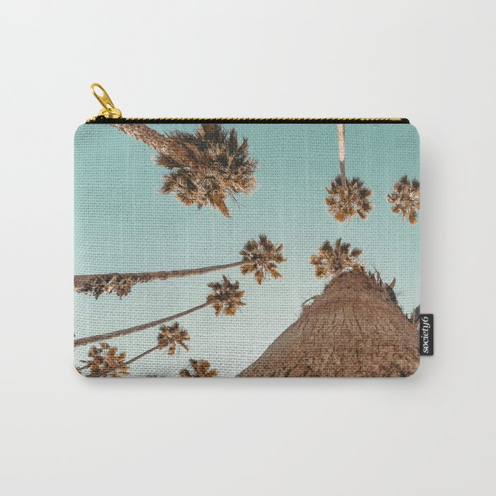 {1 of 2} Hug a Palm Tree // Tropical Summer Teal Blue Sky Carry-All Pouch
