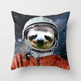 Astronaut Sloth Throw Pillow