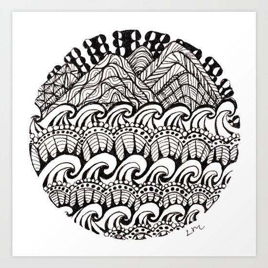 Hills Over Waves Art Print