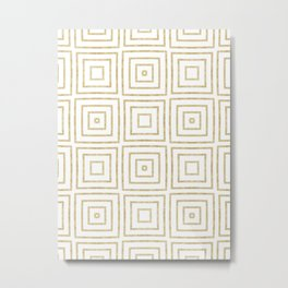 Gold Glitter Art Deco Squares Metal Print