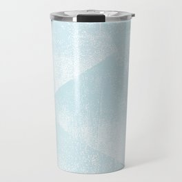 Light Blue and White Geometric Triangles Lino-Textured Print Travel Mug