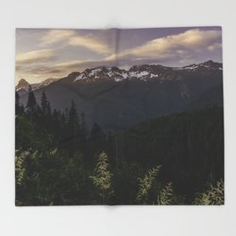 Never Stop Exploring - Cascade Sunset Throw Blanket