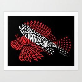 Tribal Scuba Flag Lionfish Art Print