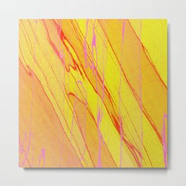 Spalted Yellow - Abstract Yellow Painting Metal Print