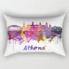 Athens OH skyline in watercolor Rectangular Pillow