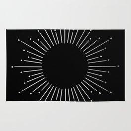 Sunburst Moonlight Silver on Black Rug