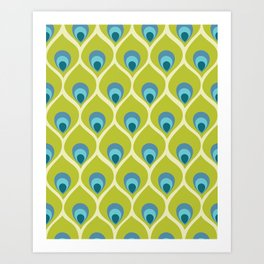 Modern Peacock Feather Blue Green Abstract Pattern Art Print