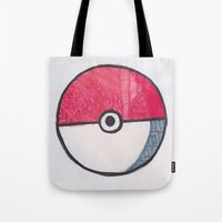 pokeball Tote Bags featuring Pokeball Zentangle by Amanda Brooks