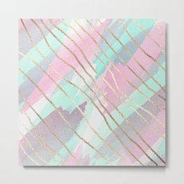 Girly Watercolor Pink Teal Purple Gold Brushstroke Metal Print