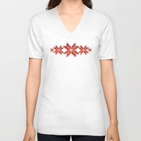 scandinavian V-neck T-shirts featuring Scandinavian inspired print with red mini stars by Jennifer Rizzo Design Company