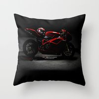 ducati Throw Pillows featuring Ducati 1198 Sp by Elias Silva Photography