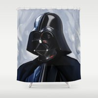 darth vader Shower Curtains featuring Darth Vader by Brad Collins Art & Illustration