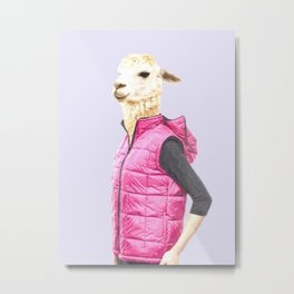 Fashionable Llama Metal Print