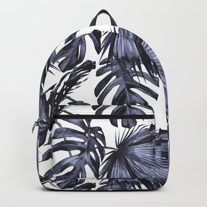 Classic Palm Leaves Navy Blue Backpack