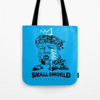 biggie smalls Tote Bags featuring Smalls World After All (Biggie Lives On) by dylated