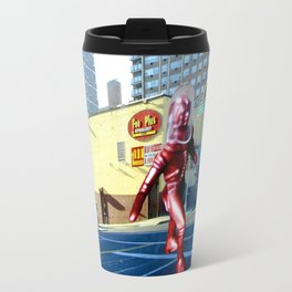 Spaceman crossing Kissina Boulevard in Queens New York Travel Mug