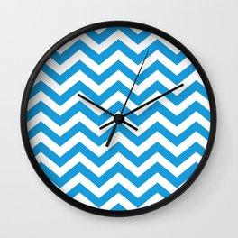 Chevron Zig Zag Pattern: Deep Sky Blue Wall Clock