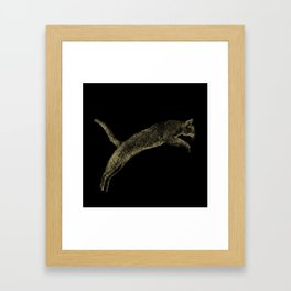 Abyssinian cat  jumping cracked metallic texture Framed Art Print