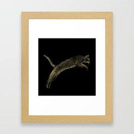 Abyssinian cat  jumping cracked metallic texture Framed Art Print