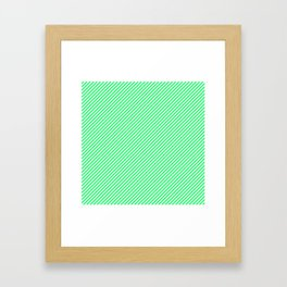 Lanai Lime Green - Acid Green and White Candy Cane Stripe Framed Art Print