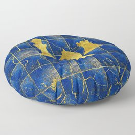 Lapis Lazuli Chessboard and Gold Chess Pieces Floor Pillow
