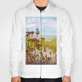 Plaid Beachscape with Dragonflies Hoody