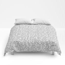 imagine - Ariana - lyrics - white black Comforters