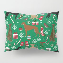 Christmas Greyhound pattern gifts for greyhound rescue dogs must have festive holiday dogs Pillow Sham