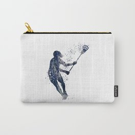 Girl Lacrosse Navy Blue Colorful Watercolor Sports Art Carry-All Pouch