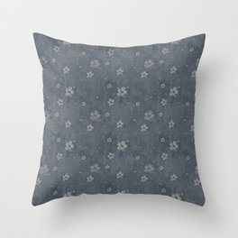Charcoal Gray Grunge Flowers and Hearts Pattern Gift Ideas Throw Pillow
