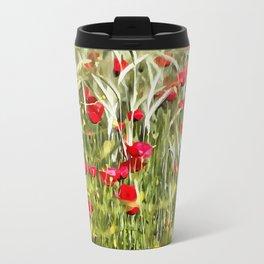 Red Corn Poppies Travel Mug