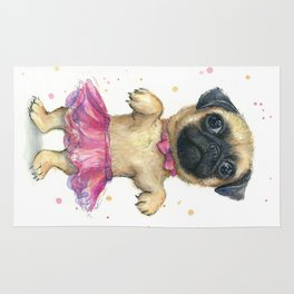 Pug in a Tutu Cute Animal Whimsical Dog Portrait Rug