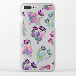 Modern watercolor pink lilac purple gold cactus floral Clear iPhone Case